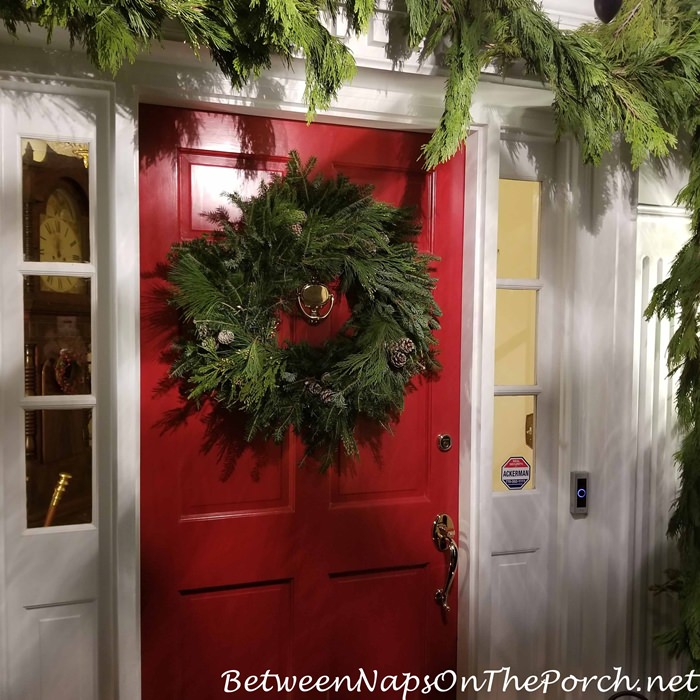 Heritage Red Door with Christmas Frasier Fir Wreath