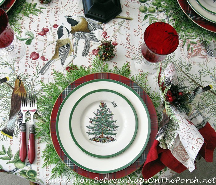 Spode Christmas Tree in a Christmas Tablescape