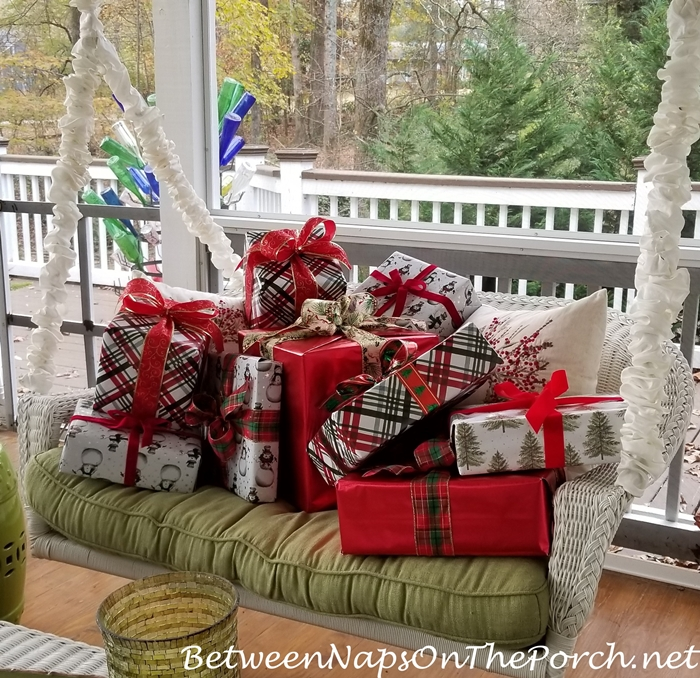 Swing filled with presents for Christmas
