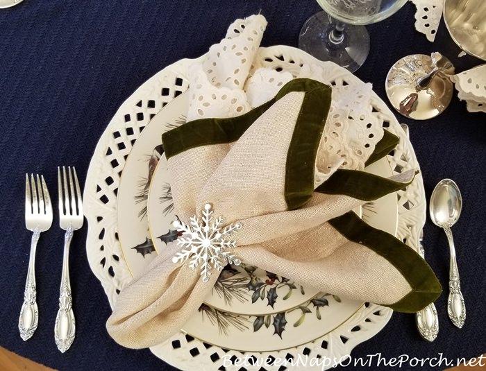 Snowflake Napkin Rings in Winter Table Setting