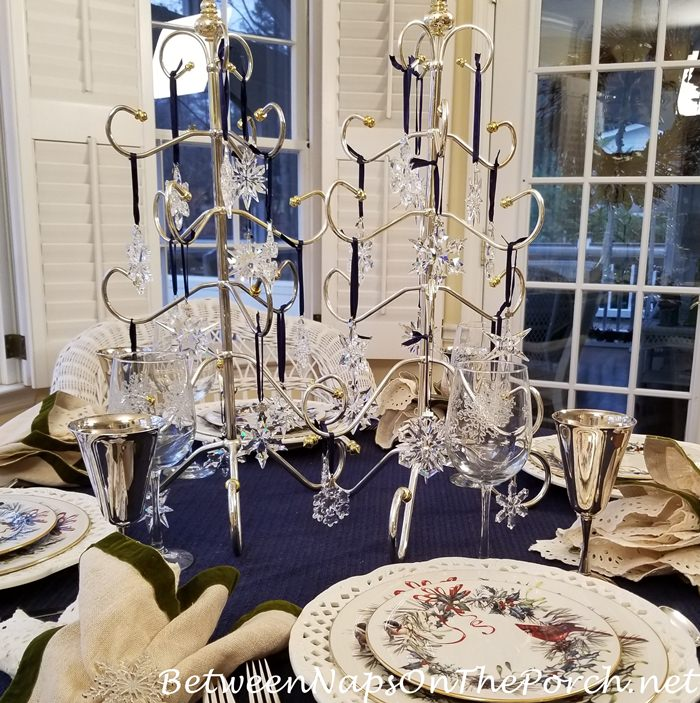 Winter Table with Crystal Swarovski Ornament Centerpiece