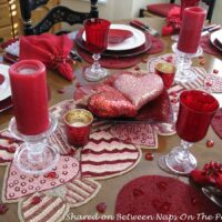 Beaded Heart Table Runner, Valentine's Day