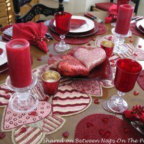 Beaded Heart Table Runner, Valentine's Day