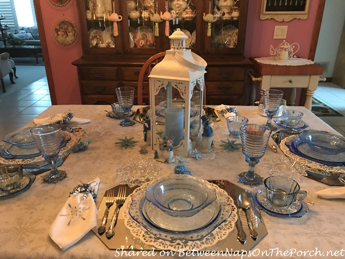 Beautiful Table set with Blue Madrid, Federal Glass Petal