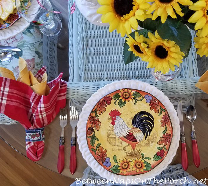 Colorful Rooster Plates in Summer Tablescape