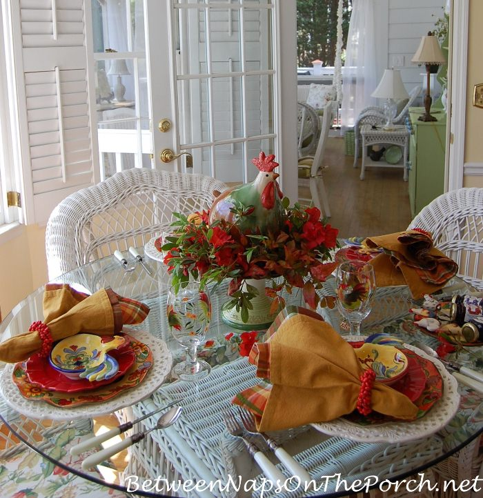 Country Rooster Table Setting with Rooster Plates