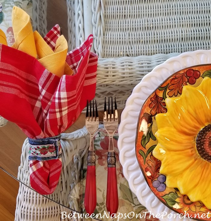 Denim Napkin Rings, Red Flatware, Sunflower Plates