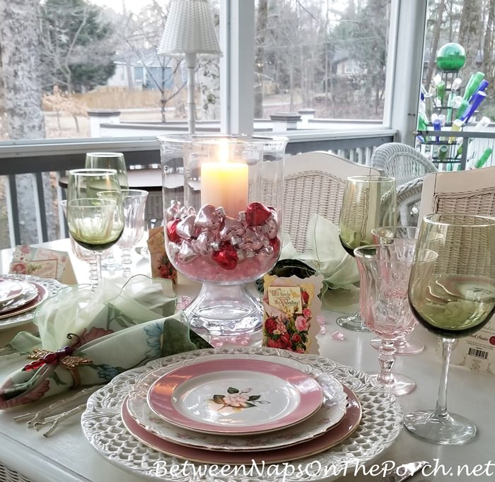 Dinner on the Porch, Valentine's Day Tablescape