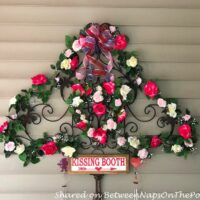 Kissing Booth Sign, Roses and Greenery