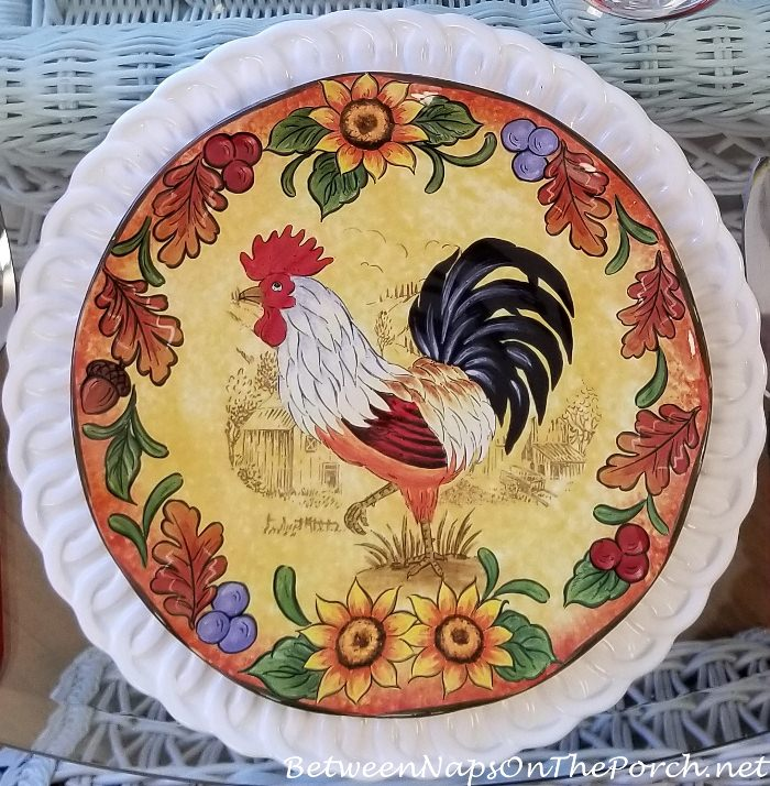 Maxcera Fall Rooster Dinner Plates, Colorful