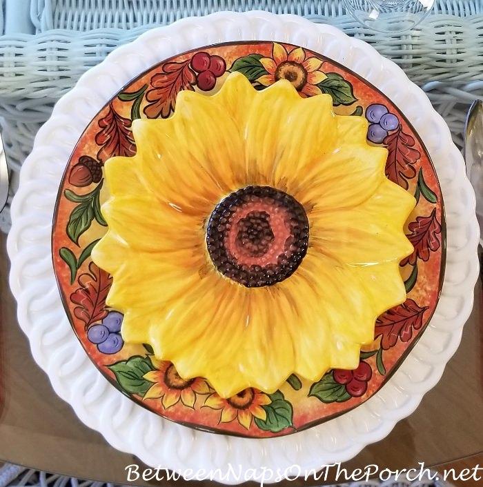 Maxcera Hand Painted Sunflower Salad Plates