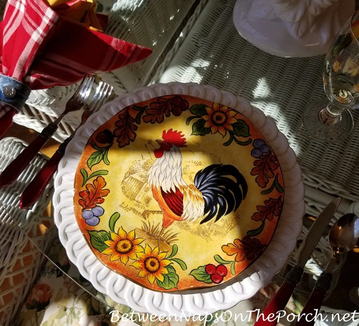 Maxcera Rooster Plates, Fall Rooster