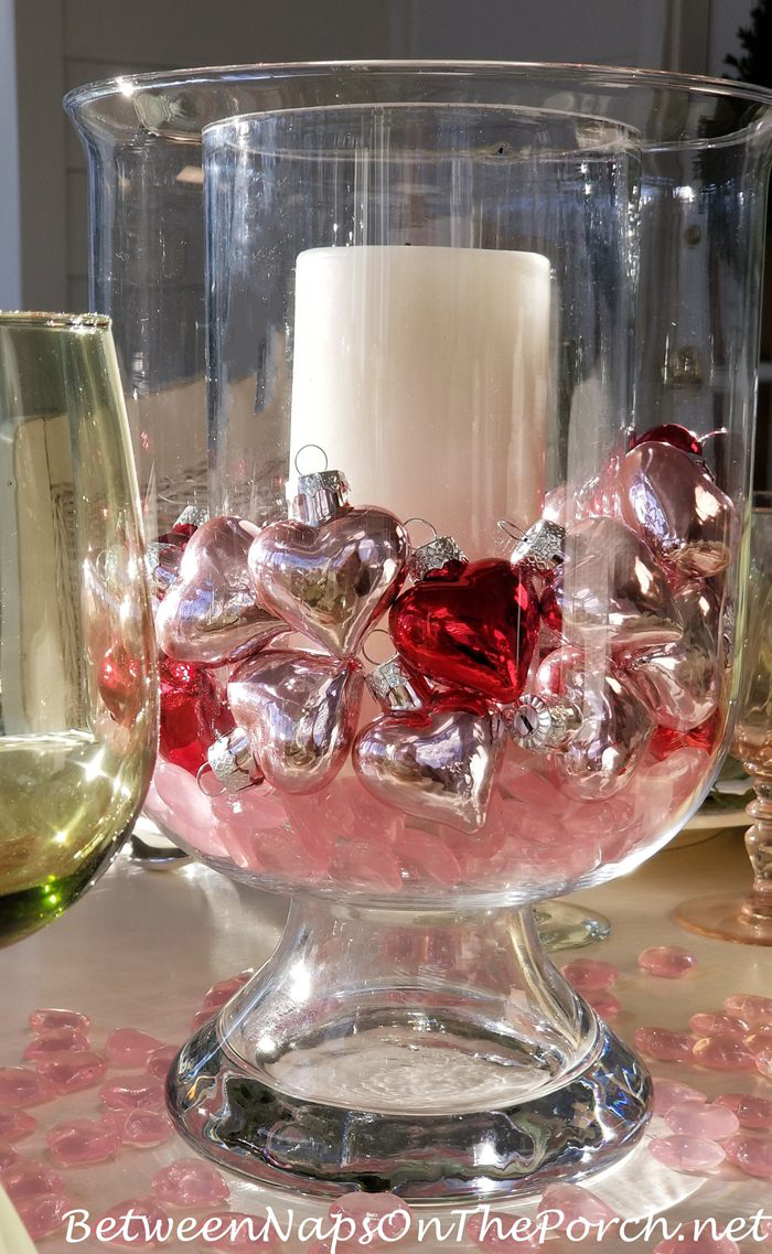 Mercury Glass Hearts, Heart Ornaments in Valentine's Day Table