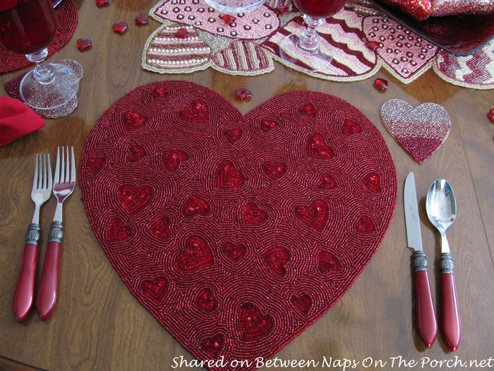 Red Beaded Heart Placemats, Perfect for Valentine's Day Table Setting