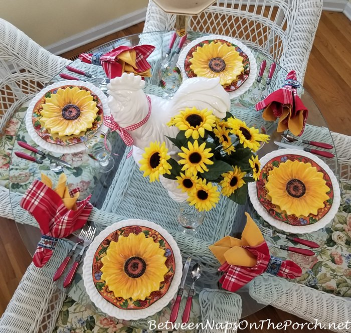 Spring Summer Table with Sunflower Plates