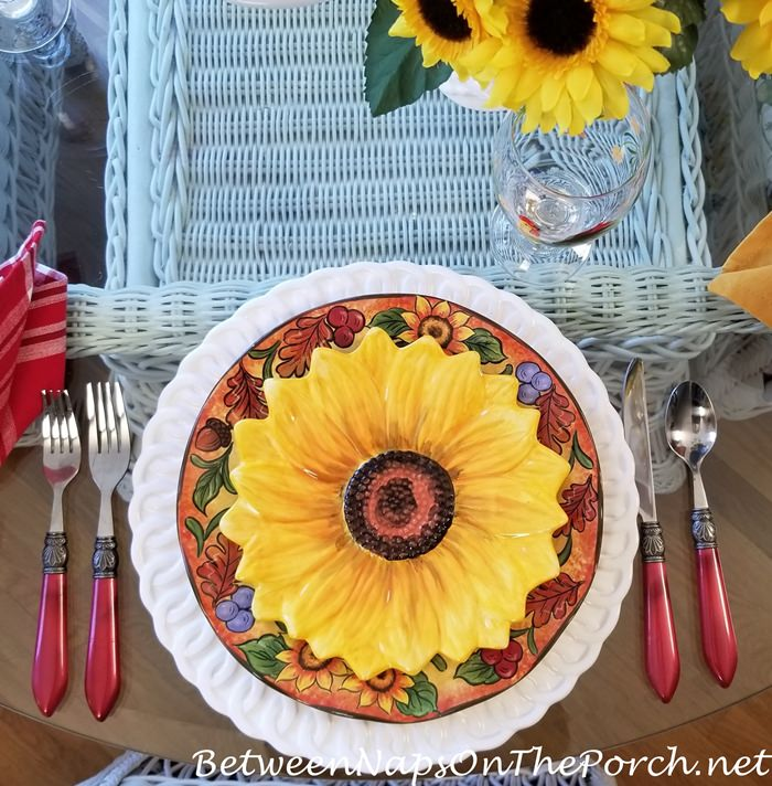Sunflower Plates in Spring Summer Tablescape