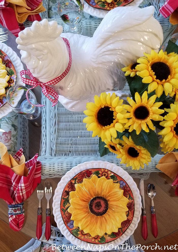 Sunflowers in Summery Tablescape Table Setting