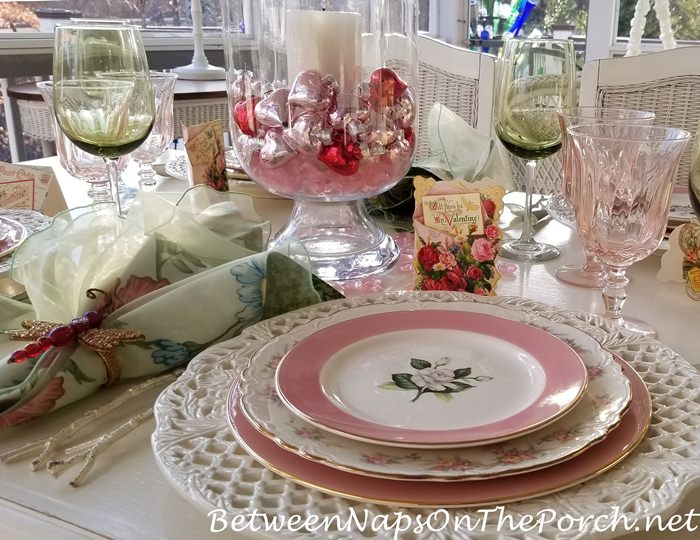 Valentine's Day Cards as Placecards in Table Setting