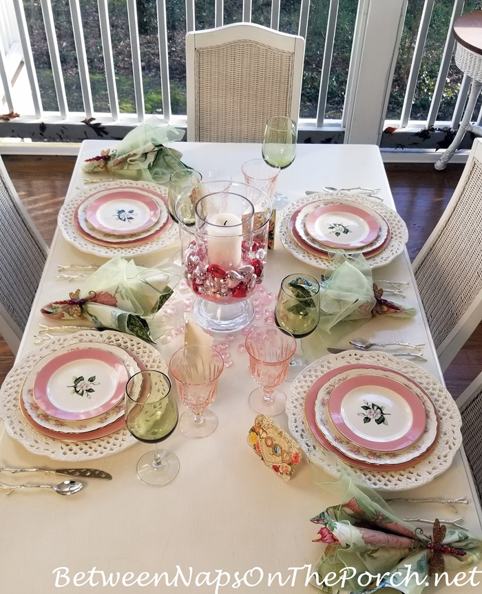 Valentine's Day Table, Pink and Green