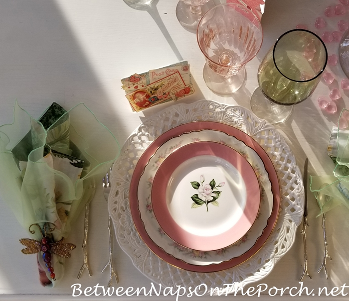 Valentine's Day Table in Pink and Green, Preppy Valentine's Day Table