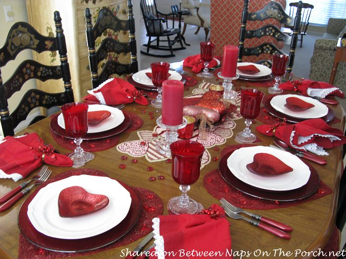 Valentine's Day Table in Red and White