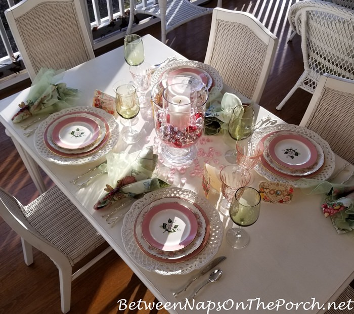 Valentine's Table Setting in Pink and Green