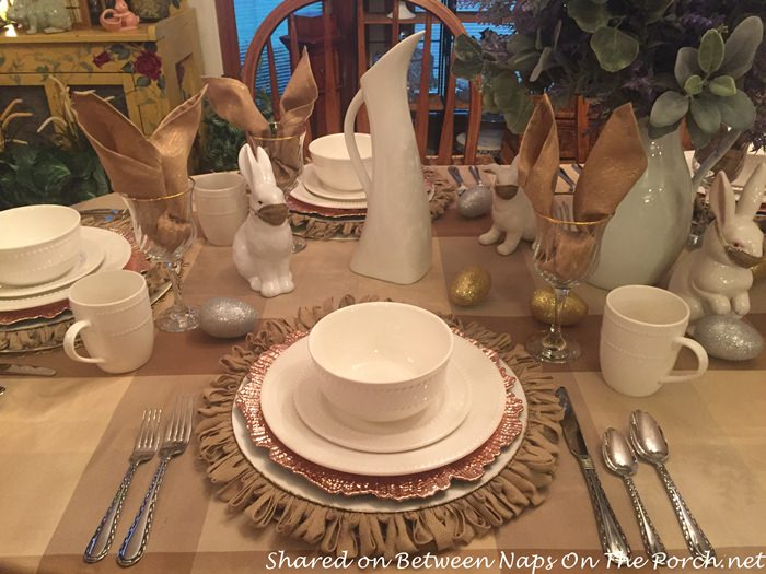 Beautiful Gold Chargers in Spring Easter Table Setting
