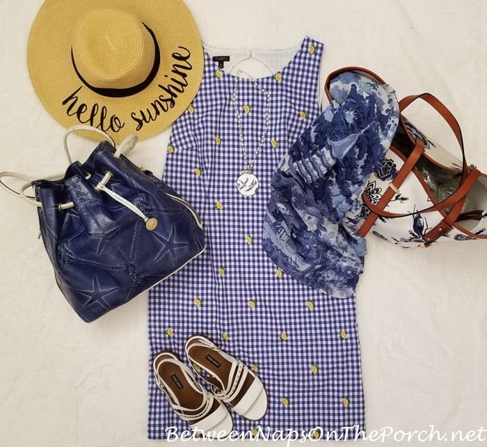 Blue Gingham Dress with Brahmin Starfish Bag & Brahmin Delft Bag
