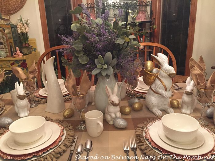Bunnies in a Spring Table in Neutral Colors with Gold and Silver Accents