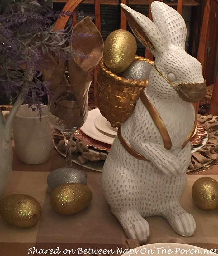 Bunny with Gold Basket filled with Gold & Silver Eggs