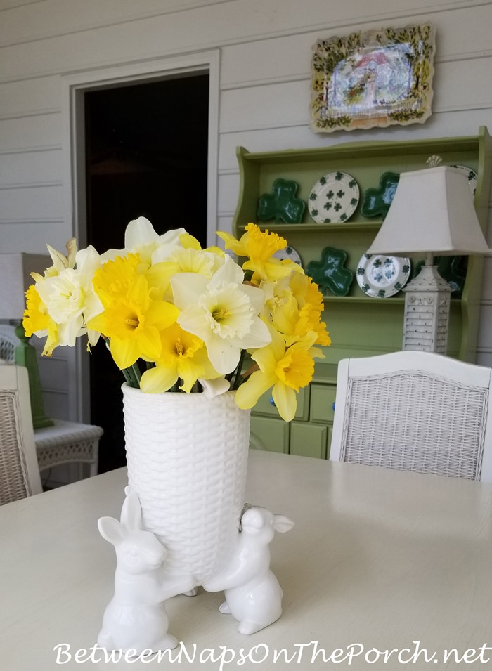 Daffodils in Bunny Vase, Screened Porch