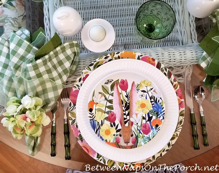 Easter, Spring Table Setting, Bunny Plates, Floral Chargers, Emma's Garden