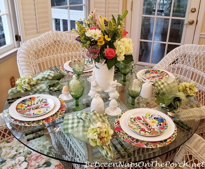 Easter, Spring Table Setting, Floral and Bunnies