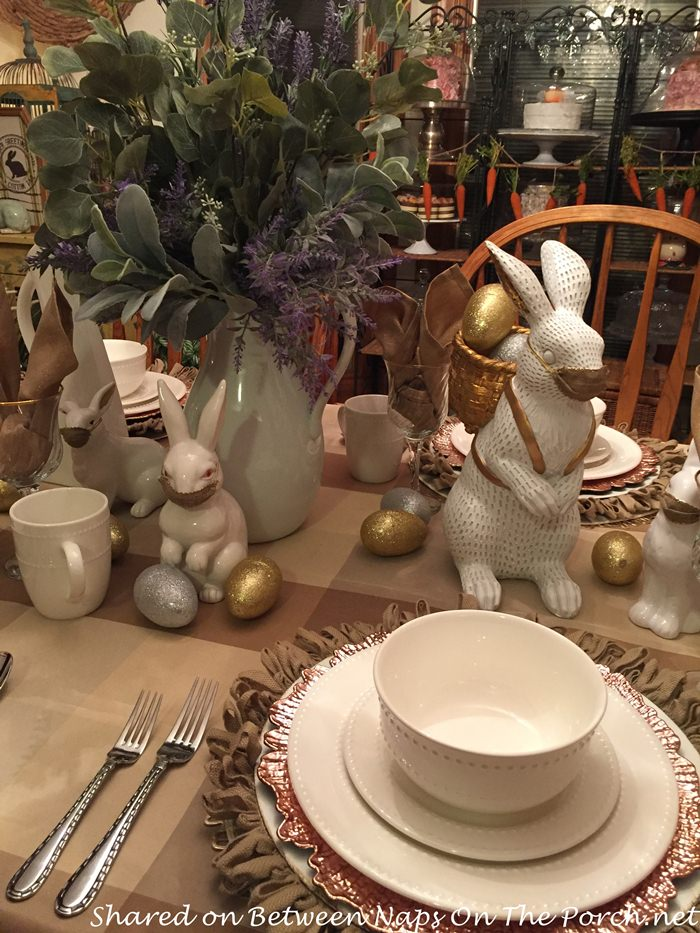 Easter or Spring Table with Bunnies Wearing Masks