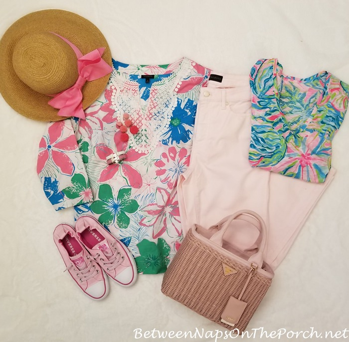 French Rose Jeans, Lilly Pulitzer Shirt, Prada Wicker Bag