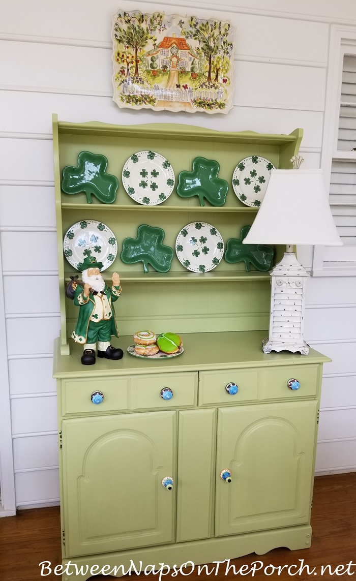 Green Hutch Decorated for St. Patrick's Day