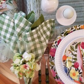 Green White Gingham Napkins, Green Bamboo Flatware, Spring Table Setting