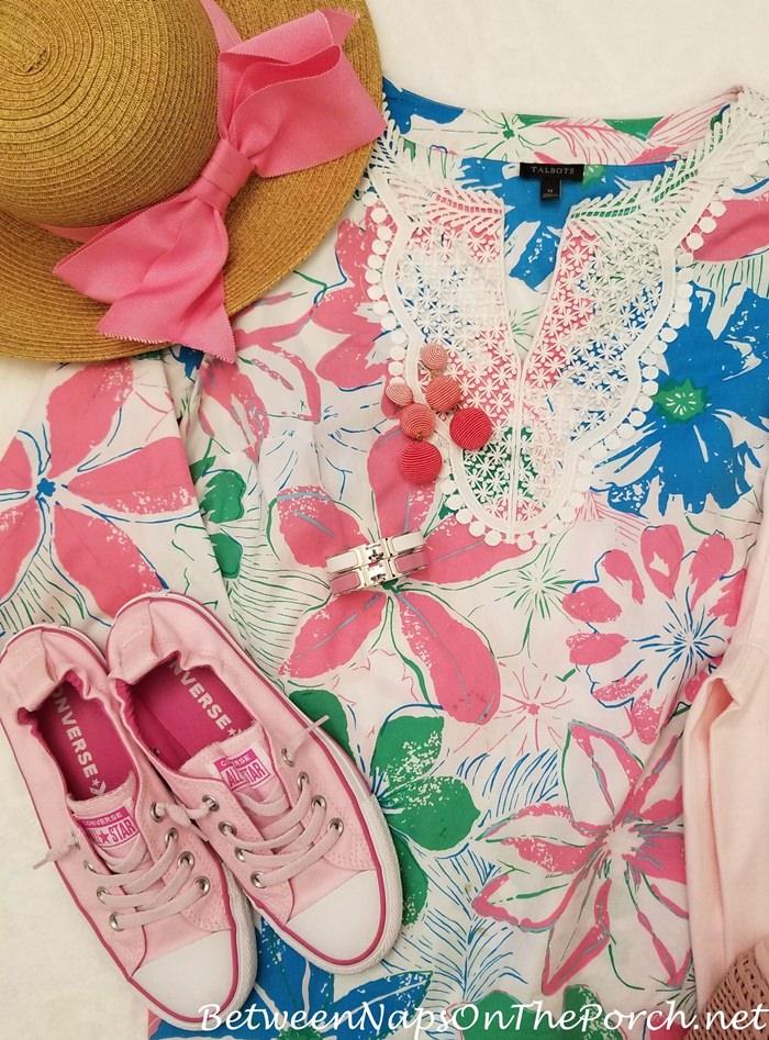 Pink Bon Bon Earrings, Pink Converse Sneakers, Pink Bow Hat