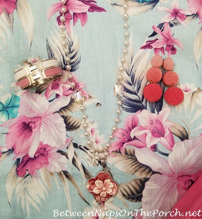 Pink Bon Bon Earrings, Spode Tower Necklace, Hermes Clic H Bracelet