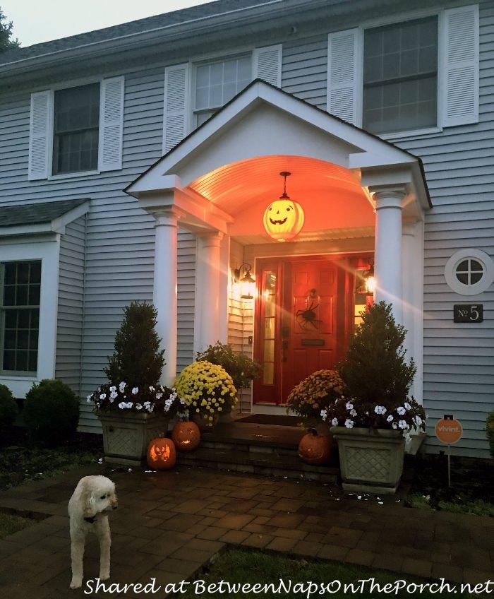 Porch Decorated for Halloween, Pumpkin Lantern