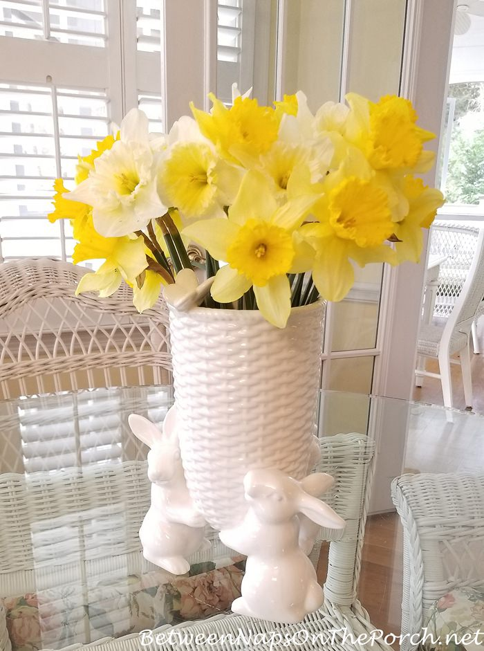 Sculptural Bunny Butterfly Vase, Wicker Style