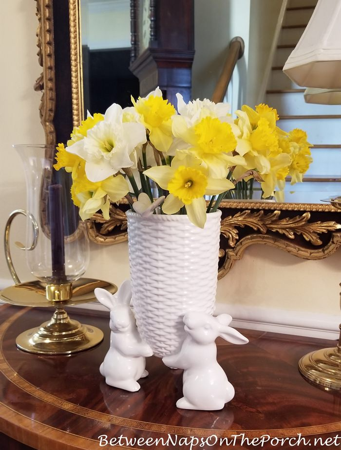 Sculptural Bunny Vase with Daffodils