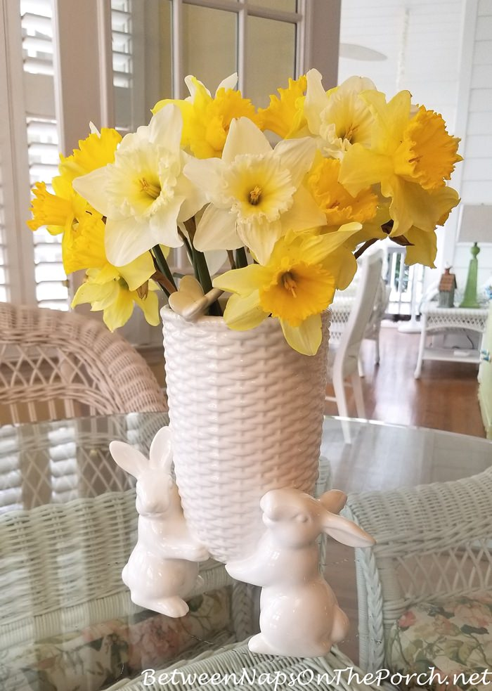 Sculptural Bunny Vase with Spring Daffodils