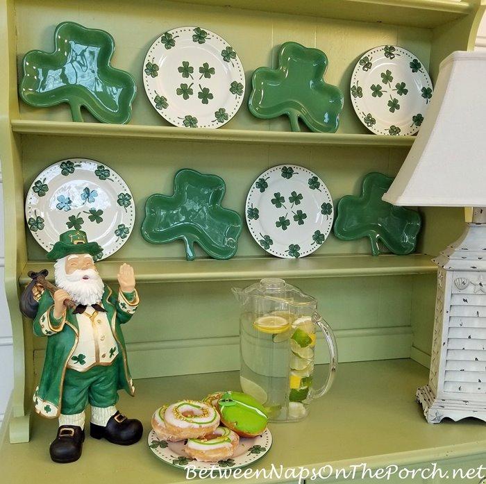 Shamrock Plates, St. Patrick's Day Hutch