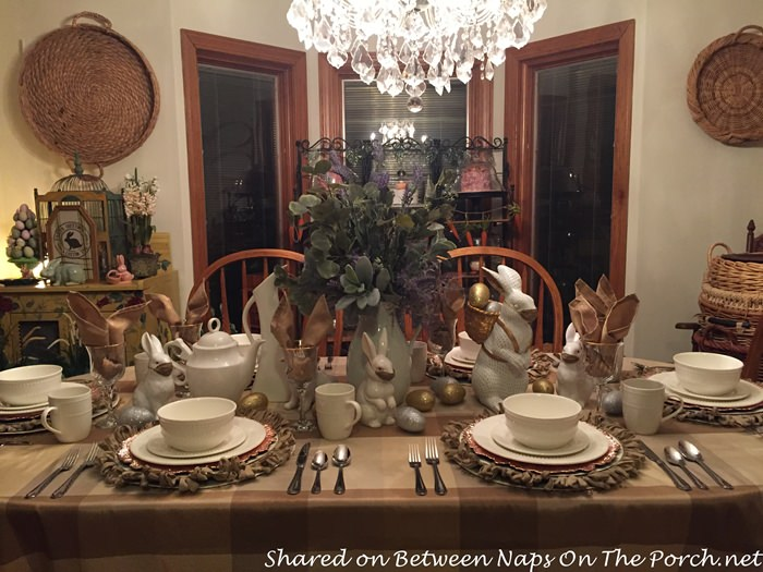Spring Table with Buffalo Tablecloth in neutral colors