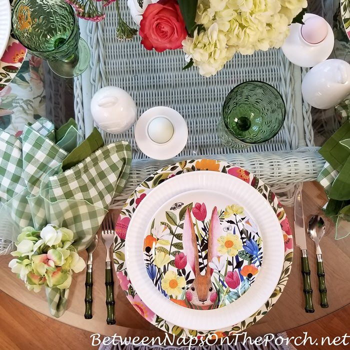 Spring Table with Bunny Floral Plates
