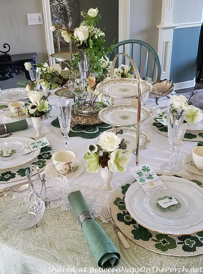 St. Patrick's Day Table, Green and White Table