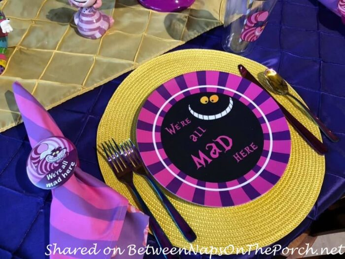 Alice in Wonderland Cheshire Cat Table Setting, We're All Mad Here