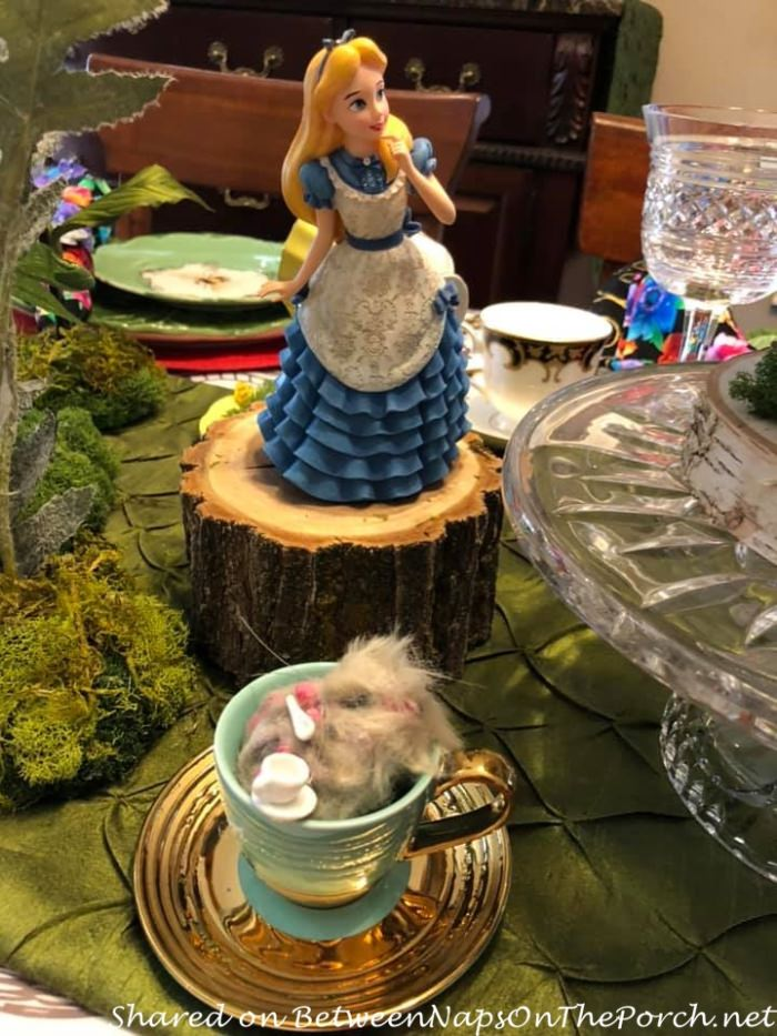 Alice in Wonderland Table Setting, Dormouse, asleep in cup
