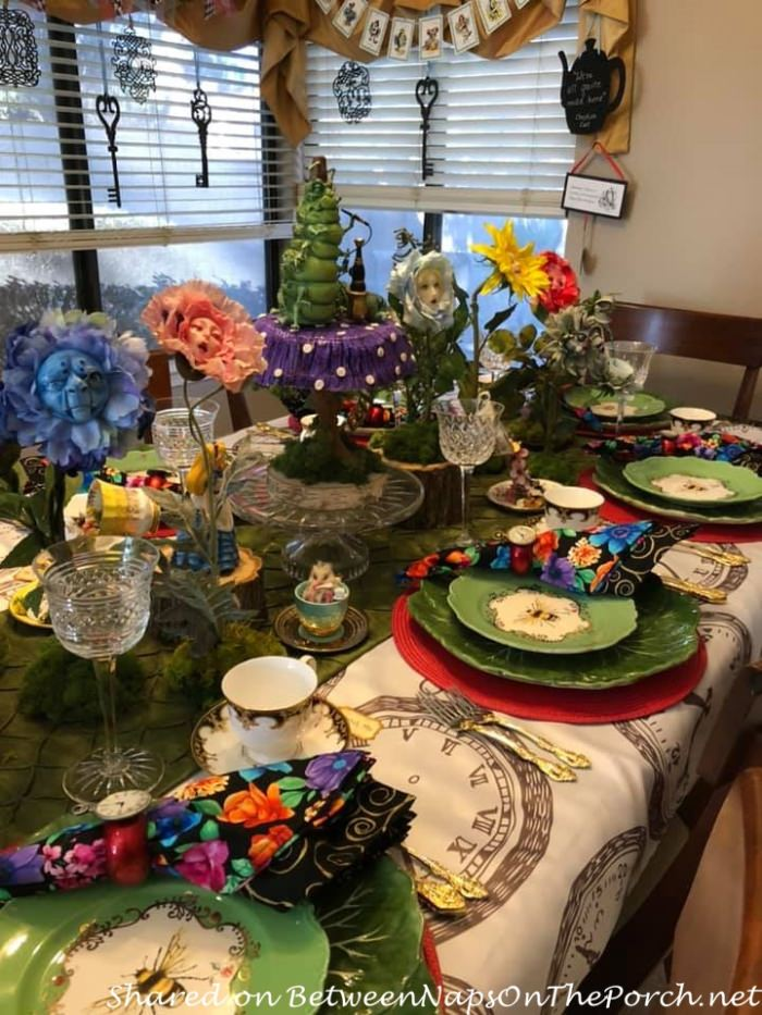 Alice in Wonderland Table with Talking Flowers